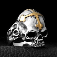 hot sell new - Wholesale -hot >> 316L Stainless Steel tibet silver Huge Heavy Skull Men Biker Rocker Punk ring
