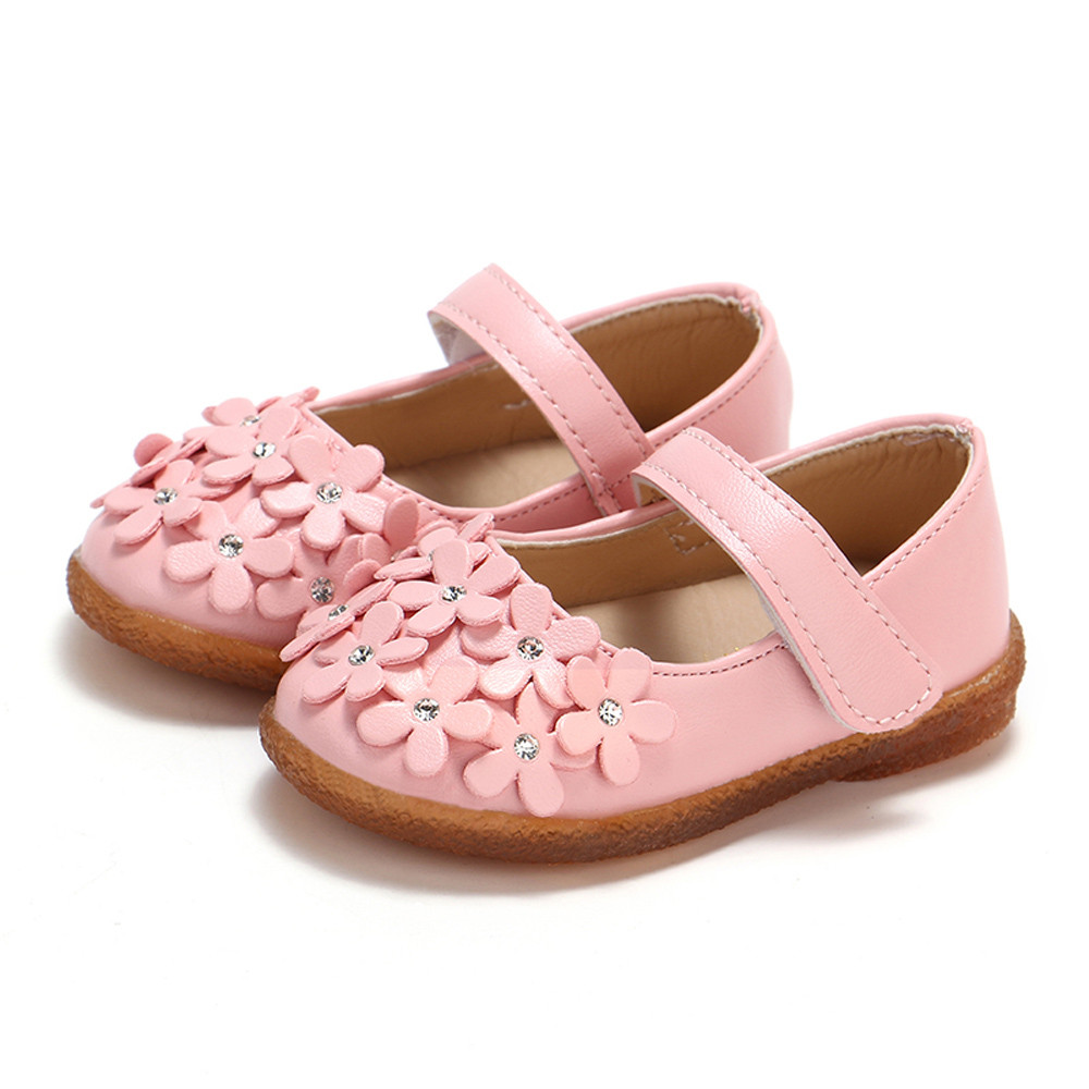 Newborn Baby Girls Children Flower Leather Single Shoes Soft Sole Princess Shoes For Toddler Kids Wedding Party Banquet MM701