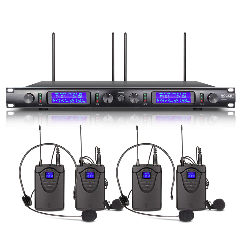 USA RUS IN STOCK XTUGA Audio EW240 4 Channel Wireless stage Microphone System UHF metal receiver with Four PCS Plastic bodypack