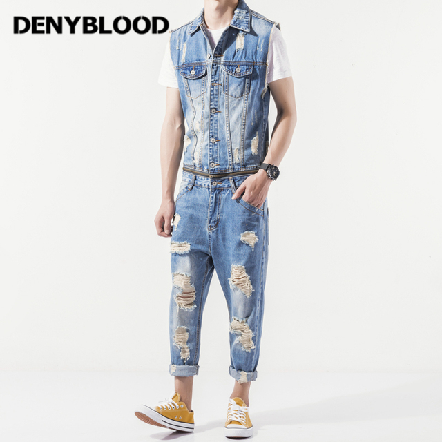 d79f200435c2 Denyblood Jeans Mens Denim Overalls Distressed Jeans Ripped Hole Destroyed  Vintage Darked Wash Jumpsuit for Men