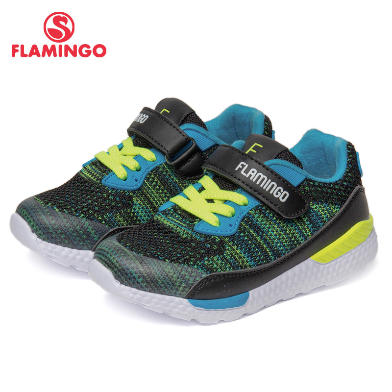 FLAMINGO Brand Breathable Arch Hook& Loop TPR Children Sport Shoes Leather Size 24-30 Kids Sneaker For Boy 91K-JL-1216