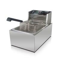 6L rvs eencilinder elektrische commerciële friteuse, frieten gebakken kip machine, donut machine gratis verzending
