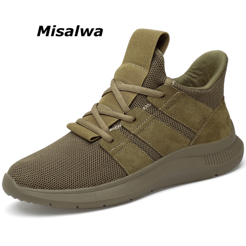 Misalwa 6CM Height Increase Invisible Elevator Shoes Men Casual Sneakers Fashion Comfortable Men Shoes Khaki Black