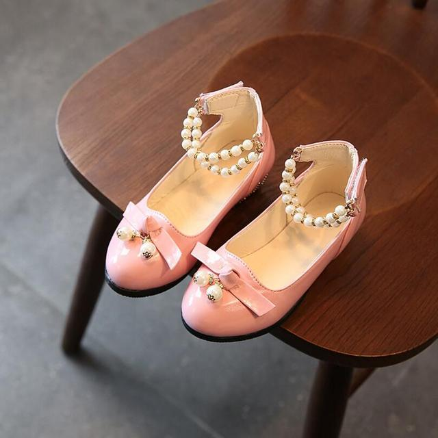 Children Princess Shoes Pink /Gold/Silvers Band Soft Sole PU Leather Fashion Bowknot Rhinestone Flower Girls casual shoes