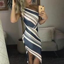 цена 2019 Summer New Fashion Women Skew Neck Office Asymmetrical Elegant Party Dress Striped One Shoulder Irregular Bodycon Dress в интернет-магазинах