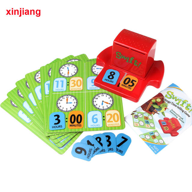 Puzzle Game Learn Time Number Card Baby Kids Time Telling