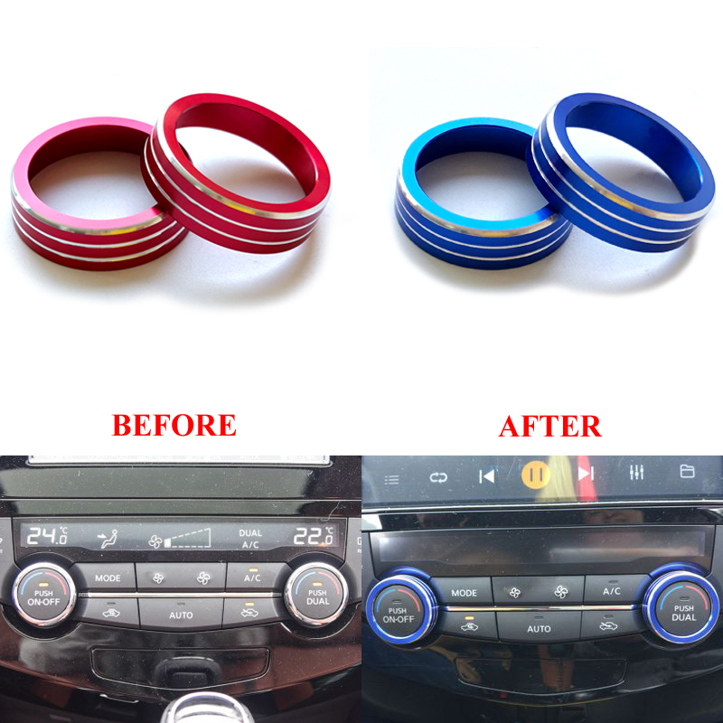 Air Condition Knob Cover Outlet Vent Switch Sticker Air-Conditioning Button Ring For Nissan X-trail T32 X trail Rogue 2014-2016 air conditioning tuyere decorative box outlet decoration ring air conditioning mouth molding for toyota rav4 2015