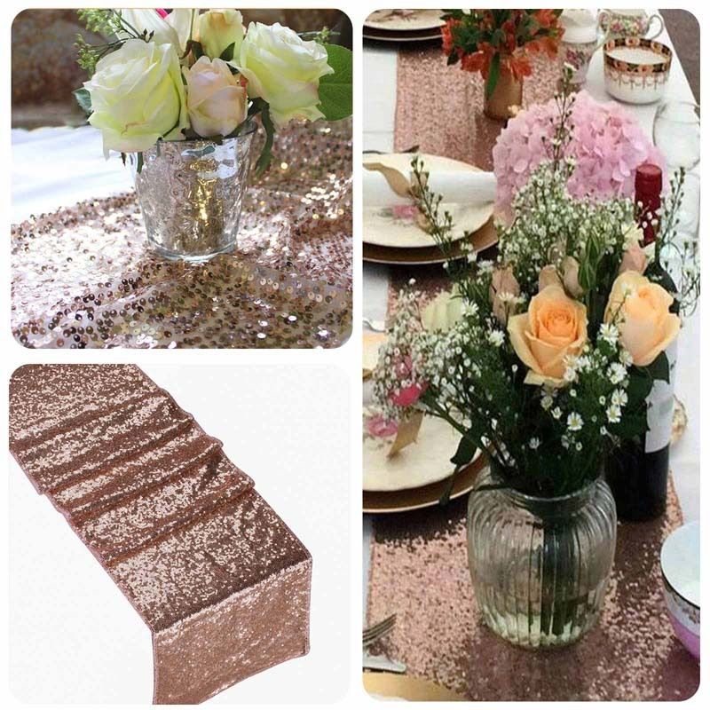 30x180/275/300cm Large Size Sequin Table Runner Wedding Party Table Decorations Table Runner Gold Silver Rose Gold Champagne 1PC