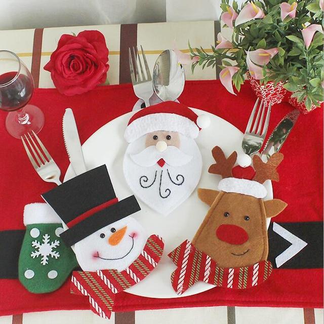4 Pcs Lot Handmade Non Woven Fabrics Christmas Tableware Sets
