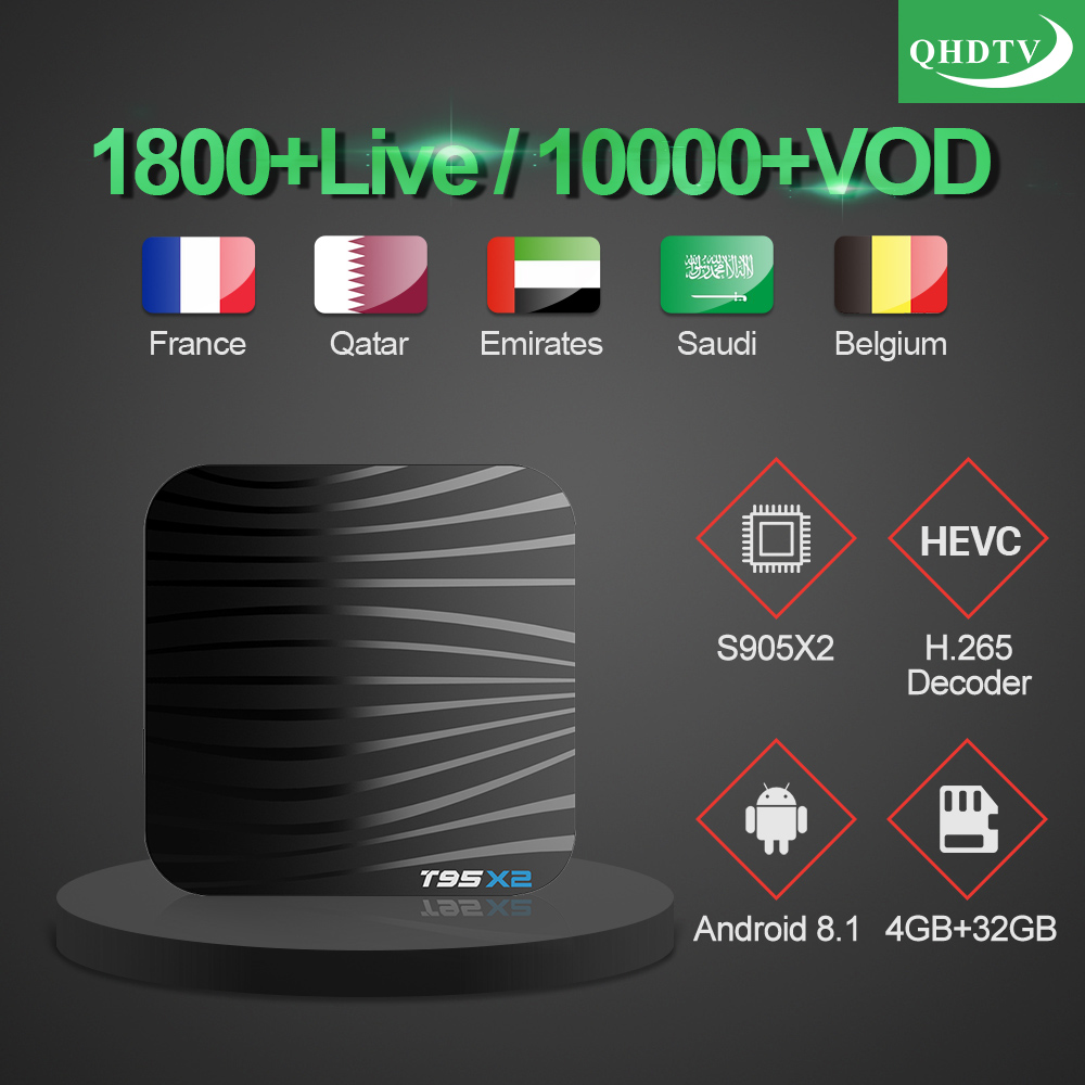 T95X2 Tv Box 4GB 32GB S905X2 Android 8.1 With 1 Year QHDTV Iptv Subscription French Arabic Morocco Belgium Netherlands Ip Tv Vod-in Set-top Boxes from Consumer Electronics