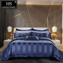HS 140S Blue Striped Crown Pattern Jacquard 4pcs Bedding Sets Luxury High Density Cotton Bed Linen Set Queen King Bedclothes