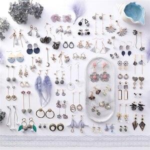 2019 Korean Fashion Sen Flower Earrings Simulation Pearl Long Tassel Handmade Jewelry Vintage Gray Ladies Earrings Women's gifts(China)
