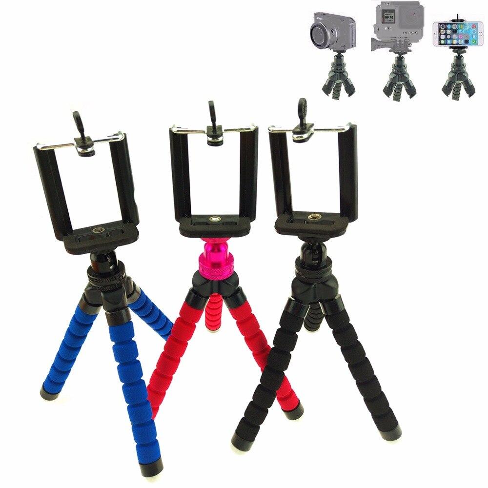 Mini 360 graus de Rotação Bola de cabeça Tripé Flexível com suporte do telefone Polvo Tripé Suporte Suporte de Montagem Para O Telefone da câmera Gopro