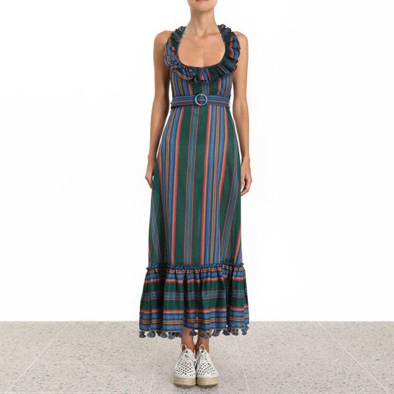 Robe d'été 2019 mode nouvelle robe rayée pour femmes col suspendu taille haute cravate gland couture grande robe balançoire