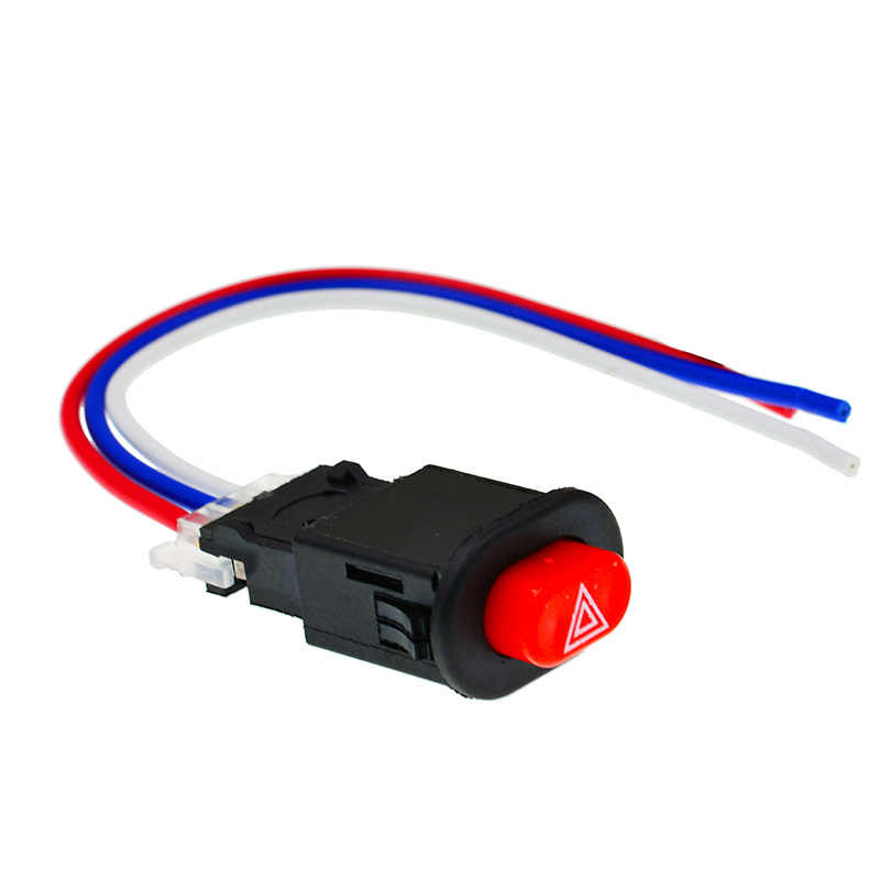 Motor Switch Tersedak Saklar Lampu Tombol Double Flash Peringatan Darurat Sinyal Lampu Flasher 3 Kabel Aksesoris Motor