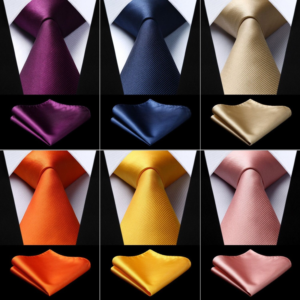 Party Wedding Men's Silk Woven Solid Color Neck Tie Pocket Square Set Classic Business Ties TL3