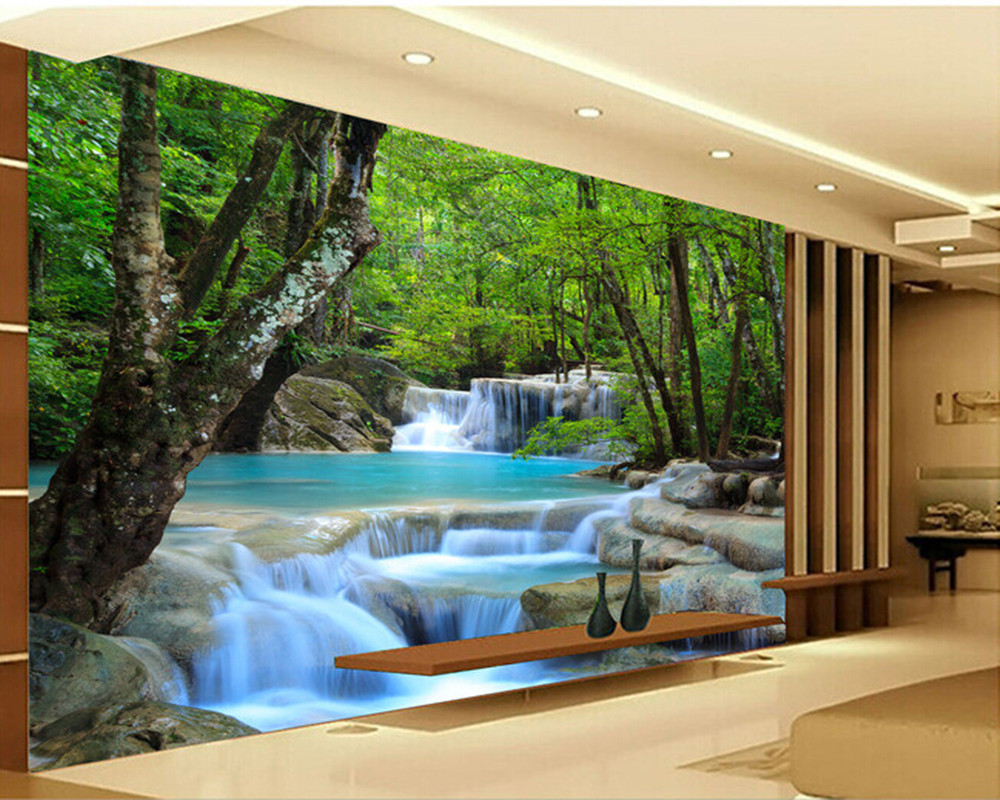 Custom photo Wallpapers,3D forest falls natural landscape for living room bedroom TV background wall waterproof papel de parede custom 3d photo wallpaper children room bedroom cartoon forest house background decoration painting wall mural papel de parede