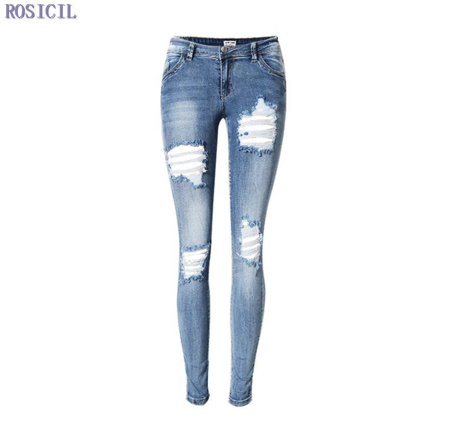 ФОТО ROSICIL Women Jeans Pants With Hole Ripped Jeans Female Skinny Jeans Pencil Pants Slim Boyfriend Jeans For Women TOP112#