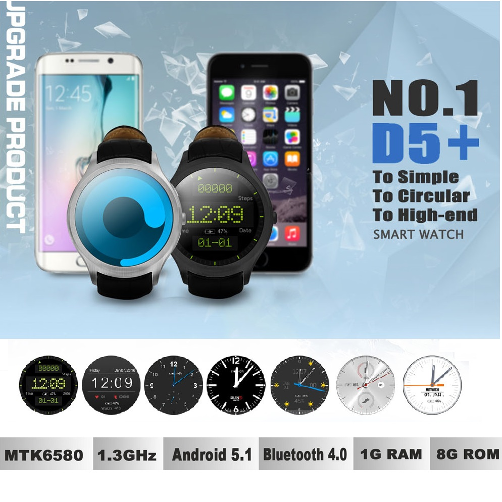 Original DTNO.I D5+ NO.1 D5 Plus Android 5.1 3G Smart Watch Phone MTK6580 Quad Core 1GB 8GB Heart Monitor Pedometer GPS no 1 d6 1 63 inch 3g smartwatch phone android 5 1 mtk6580 quad core 1 3ghz 1gb ram gps wifi bluetooth 4 0 heart rate monitoring