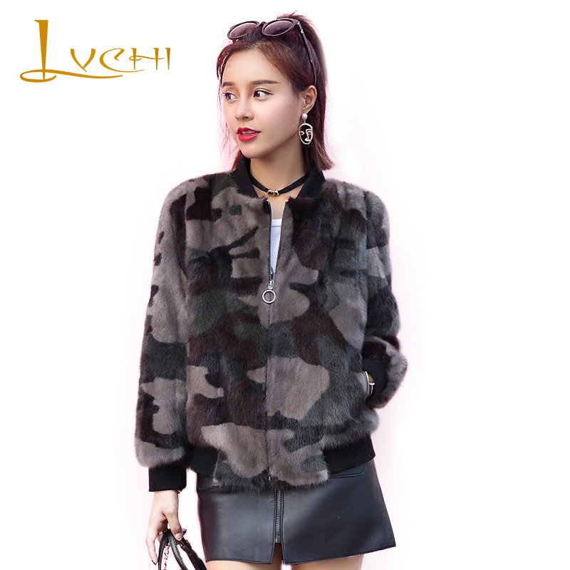 LVCHI Female import full pelt Baseball clothing Jacket version Mink coats Natural mink fur coat round collar fashion 3 color