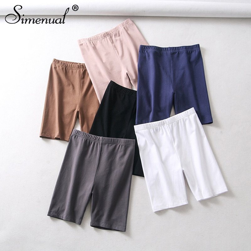 Simenual Solid High Waist Biker Shorts Women Fitness Casual Short Pants Slim 2019 Summer Cycling Shorts Femme Active Wear New