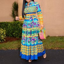 African Dress Women Boho Ethnic Style Fashion Printed Long Sleeve Autumn Elegant Plus Size Robe Casual Party Female