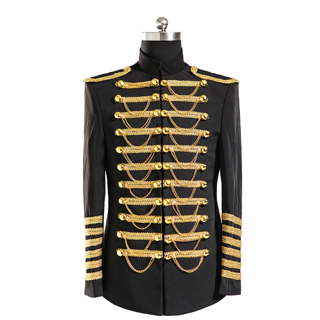 2017 Gentleman Luxury Men Golden Military outfit Suits Slim Fit Black Male  singer chain custom fit tuxedo prom groom suit Tuxedo-in Suits from Men's