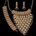 Corazón de oro Conjuntos de Joyería de Fantasía de Alta Calidad Dubai Oro Africano Sistemas de La Joyería Pendiente Grande Para Las Mujeres Del Partido de Estilo Vintage