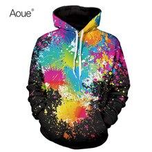 Aoue Men Winter hoodies 3D Colorful Print Sweatshirt Sportswear Men's hooded Sporting Suit Men casual hoody sportswear tracksuit