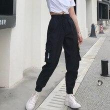 Gorące duże kieszenie Cargo spodnie damskie wysokiej talii luźna odzież uliczna spodnie Baggy taktyczne spodnie hip hop wysokiej jakości spodnie