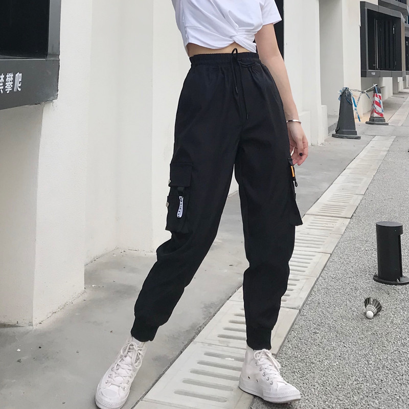 Streetwear Pants Tactical-Trouser Big-Pockets Hip-Hop Loose High-Waist Baggy Women Hot title=