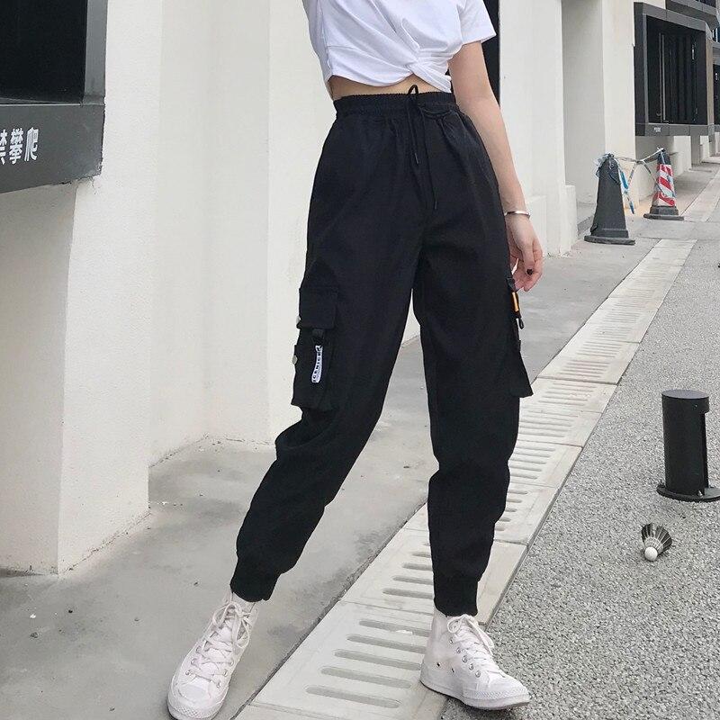 Quente grandes bolsos calças de carga feminina cintura alta solta streetwear calças baggy tático calças hip hop alta qualidade joggers calças