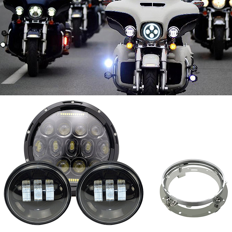"""7/"""" Round 75W LED Headlight Spot Fog Passing Combo For Harley Davidson Motorcycle"""