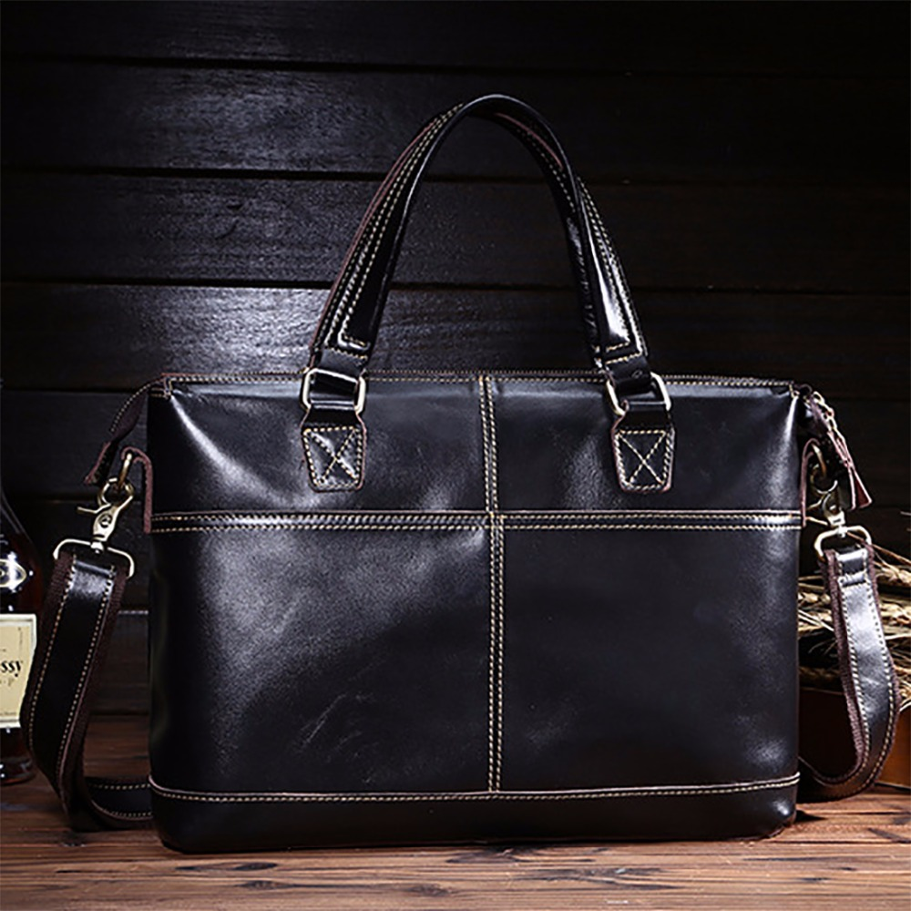 Real Genuine Leather Men Business Briefcase Famous Brand Shoulder Bag Cowhide Male Messenger Bags Luxury Laptop Tote Handbag New