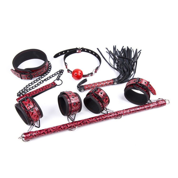 5pcs/set bondage set collar handcuffs for sex gag ball whip bdsm slave bondage restraints adult games sex toys for couples adult sex products bondage restraints 10 pieces set sex toys for couples handcuffs whip gag for adult slave game erotic toys