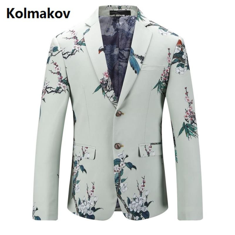 KOLMAKOV 2017 autumn men's suits casual Classic printing blazers,business jacket men, Wedding dress blazers men size M 5XL
