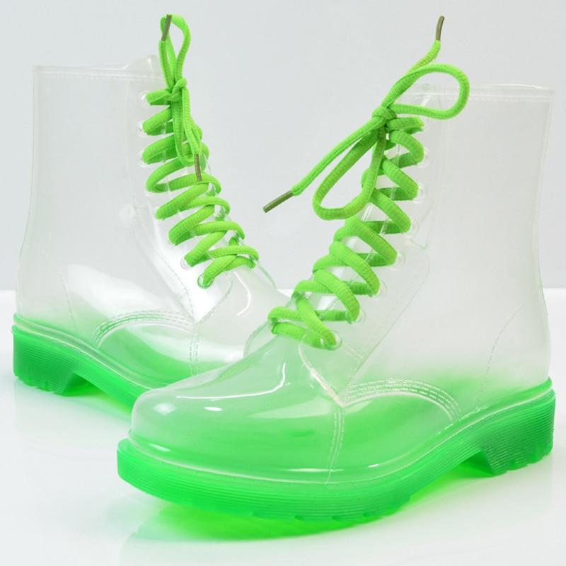 Señoras Botas Jalea rosado Martin Negro claro Beautyfeet naranja Plana amarillo verde Zapatos Las azul Mujeres Lluvia Cielo Zapato Impermeable Moda Agua Transparente De Xgffwdq