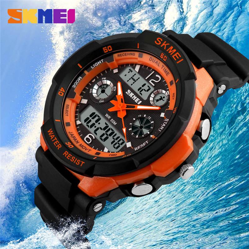 SKMEI Sports Watch Men's Wristwatch Multifunction Double Display Clock Electronic Digital Watches 50M Waterproof Man Or Child D