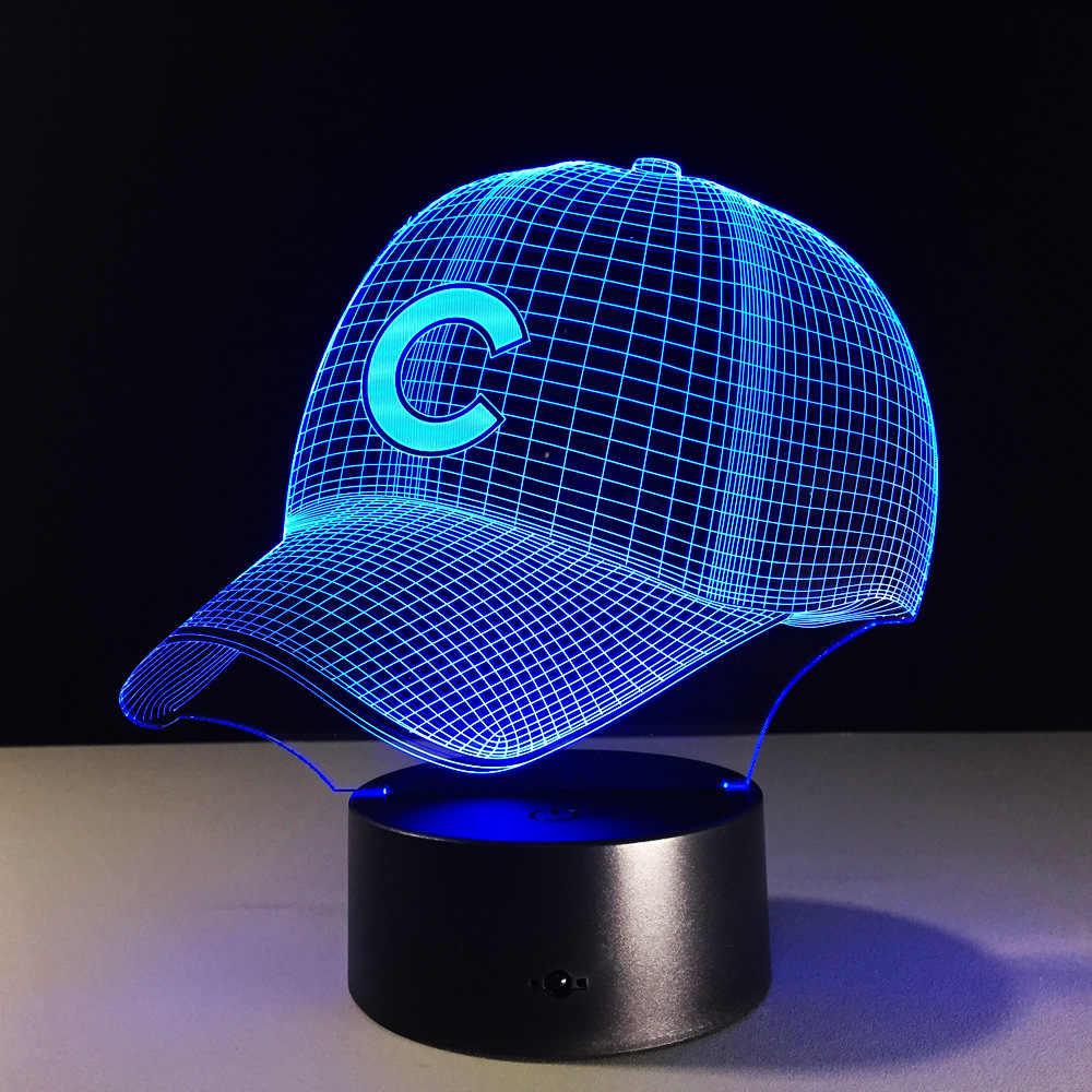 3D в стиле «хип-хоп» Бейсбол команда Кепки светодиодный 3D Иллюзия Ночной свет 7 цветов USB5V или Батарея Американский Бейсбол шляпа голограмма визуальная лампа