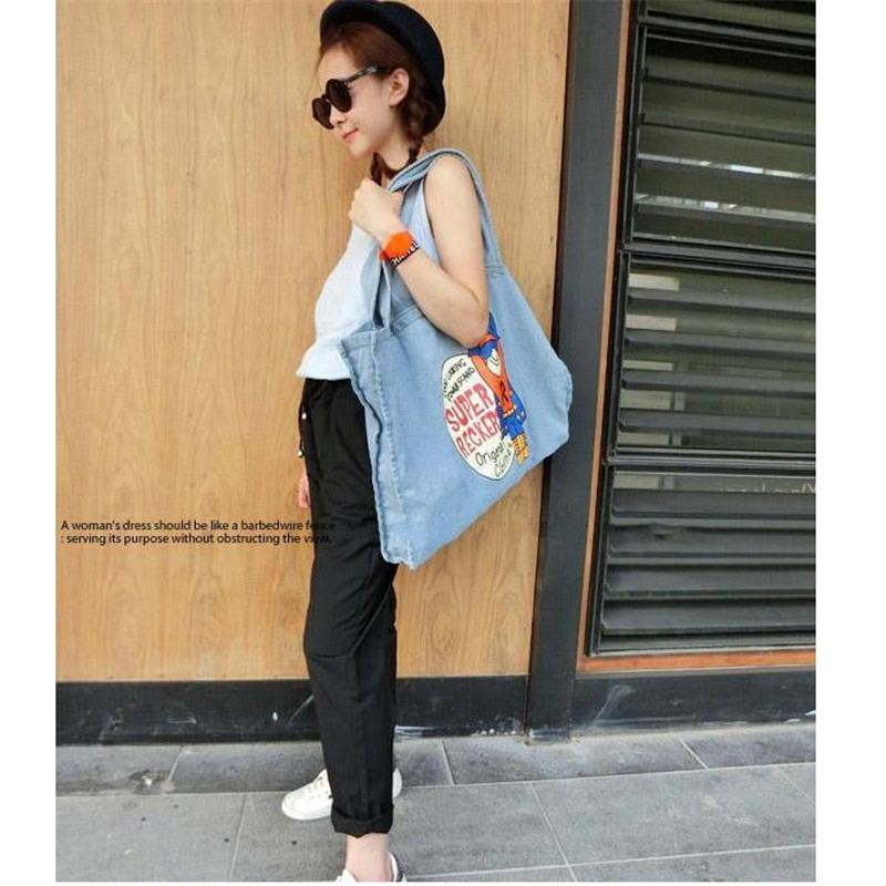 40d87a063b8d US $16.4 |Hot Sale 2016 New Arrival Fashion Style Jean  Letter/Animal/Cartoon Women Handbags Large Capacity Cheap Girl Tote  Shoulder Bags -in Shoulder ...