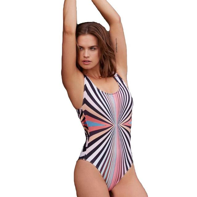 a72ee9d320d Women Colorful Striped Print One Piece Swimsuit Padded Push Up Backless  Crossover Sexy Retro Swimwear Black