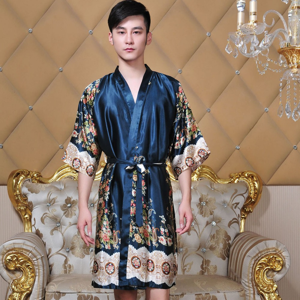 Men Kimono Bathrobe Chinese Style Robe Gown Print Flower Sleepwear Casual Nightwear Rayon Negligee Loose Intimate Lingerie