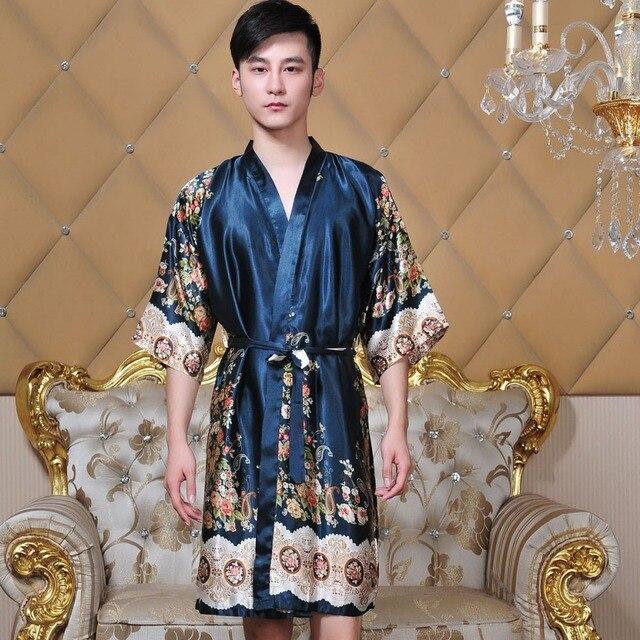 0de2134578d4 New Summer Dark Green Chinese Men s Silk Hand-Made Painted Kaftan Lounge  Sleepwear Robe Gown With Belt Free Size 18 Colors