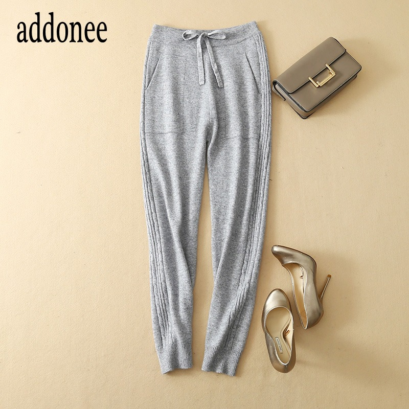 New Sporty Style High Quality Autumn Winter Women Cashmere Wool Pencil Pants Solid Fashion Casual Wild Sashes Full Length Loose-in Pants & Capris from Women's Clothing    1