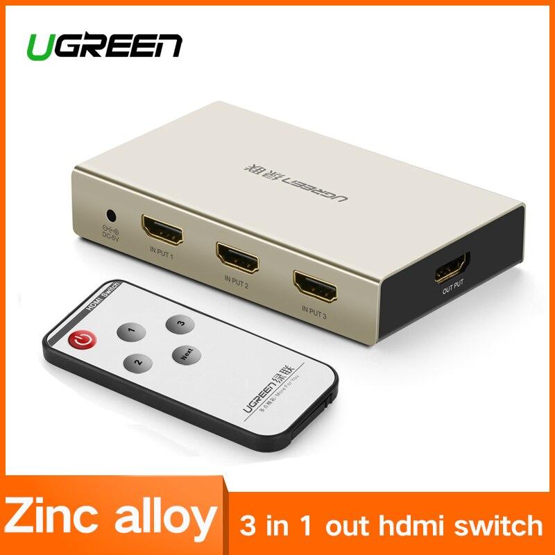 Ugreen HDMI interruptor 4 K HDMI Hub 3 en 1 fuera 3 puertos HDMI Switcher con aleación de Zinc para televisores de alta definición Blu-ray Xbox 360 PS3 PS4