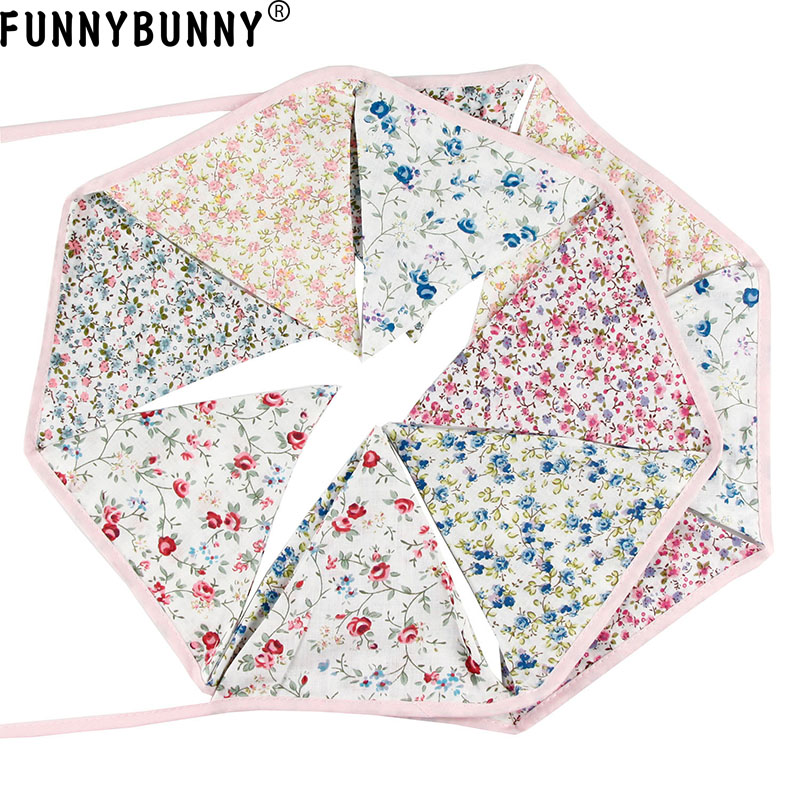 FUNNYBUNNY Triangle Pennant Flags Vintage Bunting Floral Cotton Banner Kit Garland in Banners Streamers Confetti from Home Garden