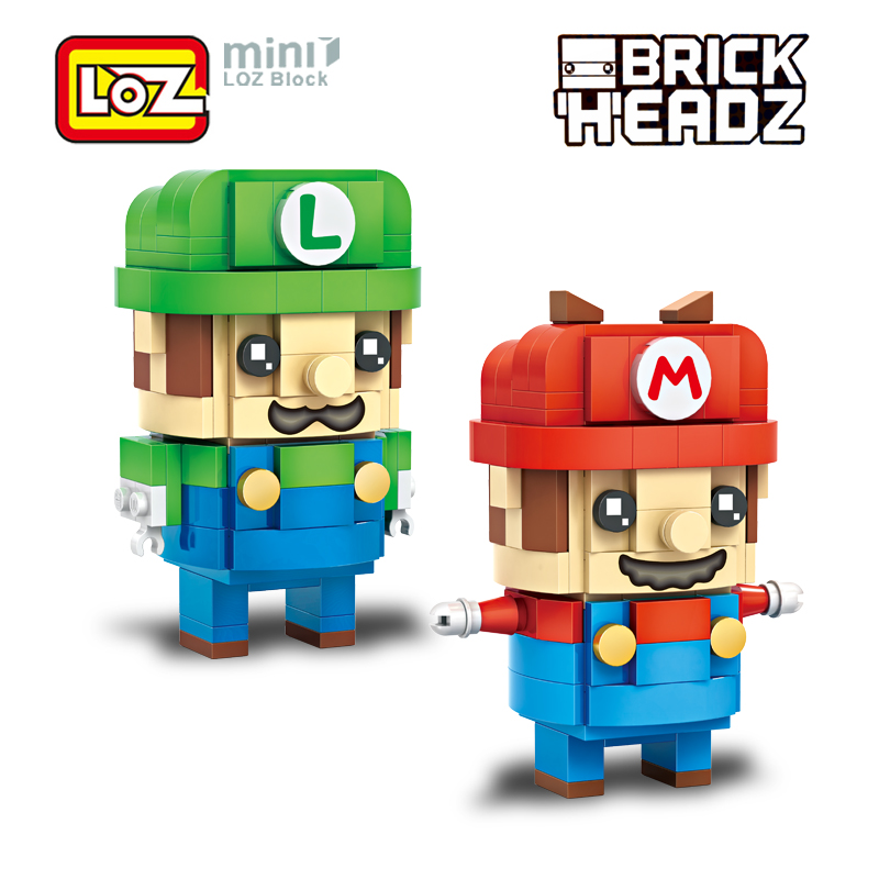 LOZ Super Mario Bros Mario and Luigi 2in1 Mini Blocks Building Brick Heads Action Figure Brinquedos Toy RPG Game 6+ 384PCS 1706 loz super mario kids pencil case building blocks building bricks toys school utensil brinquedos juguetes menino jouet enfant