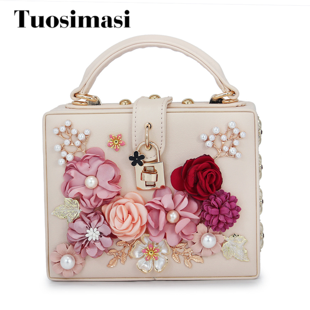 crossbody bag designer leather handbags high quality new arrival women bag  flower diamond box shaped shoulder bags(C1751)