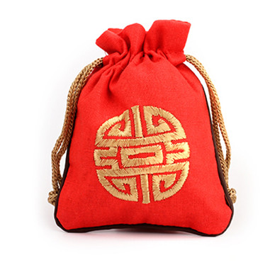 16 x 19 cm Large Embroidered Joyous Pouch Drawstring Cotton Linen Packaging  Travel Jewelry Gift Bag 0378c21f5