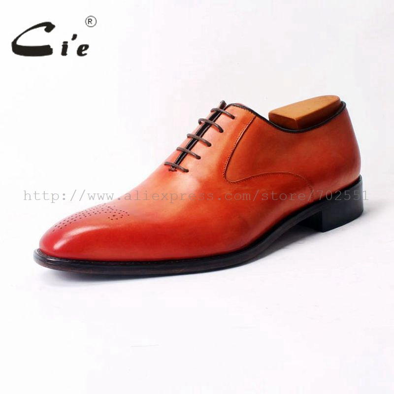 cie Square Toe Lace Up Plain Oxfords Hand Painted Orange 100 Genuine Calf Leather Outsole Breathable Men 39 s Leather Shoe OX310 in Oxfords from Shoes